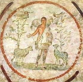 The good shepherd fresco roman catacomb